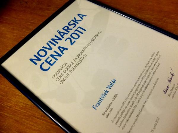 Prihlás svojho blogera do Novinárskej ceny 2012