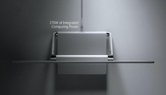 Toto nie je držiak na rolku toaletného papiera, ale Surface Studio z vrchného pohľadu