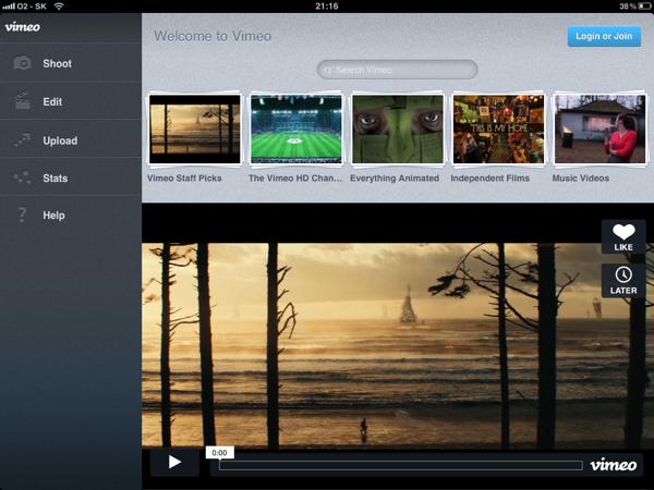 Vimeo pre iPad je tu